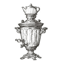 samovar for boiling water russian traditional old vector image