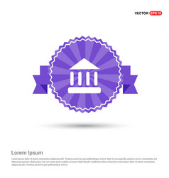 school building icon - purple ribbon banner vector image