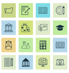 School icons set with academy building online vector