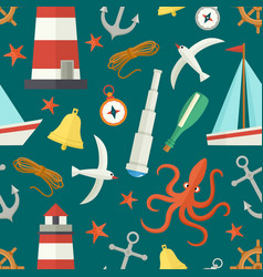 seamless pattern with cartoon nautical elements vector image