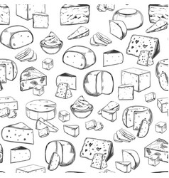 Seamless pattern with cheese piecesfood and dairy vector