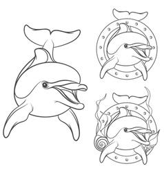 Set dolphin logo design element vector