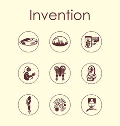 Set invention simple icons vector