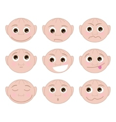 Set of faces with child different emotions vector