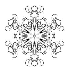 Snow flake in zentangle doodle style vintage vector