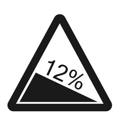 Steep descent sign line icon vector