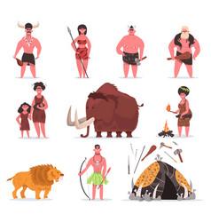 Stone age characters caveman primitive vector