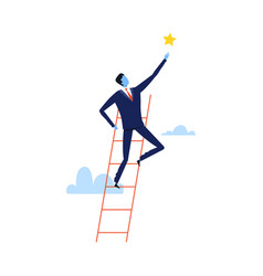 successful businessman climbing career ladder vector image