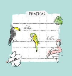 Summer cartoon doodle hand drawn tropical vector