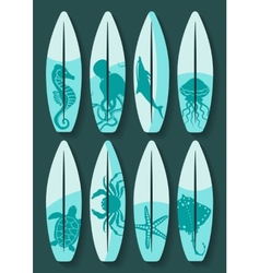 surfboards set with blue sea creatures drawing vector image