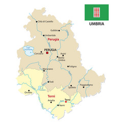 umbria administrative and political map with flag vector image