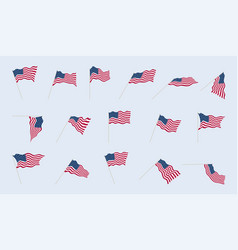 usa flag on a flagpole in different angles folds vector image