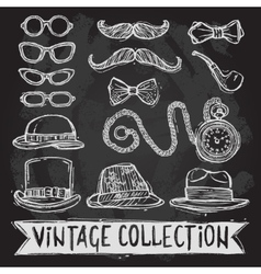 Vintage hats and glasses set vector