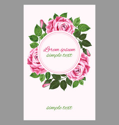 wedding invitation with tender pink roses wreath vector image