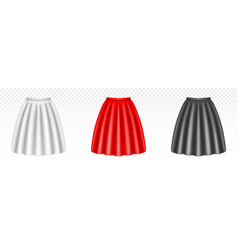 White red and black women skirts with foldes vector