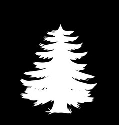 white silhouette of coniferous tree icon isolated vector image