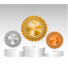 Winner background with golden silver and bronze vector