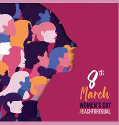 Womens day 8 march card diverse women team vector