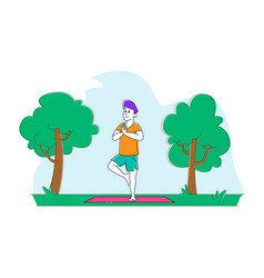 Yoga practice male character stand on mat on one vector