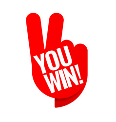 You win red tag winner symbol vector