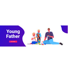 young father playing with little children at home vector image