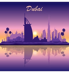 Dubai skyline silhouette on sunset background vector