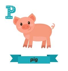Pig P letter Cute children animal alphabet in vector image