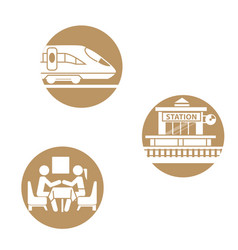 set of icons train theme vector image