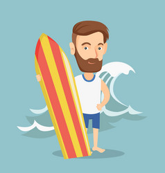 surfer holding a surfboard vector image vector image