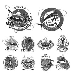 icons set for fishing or fisher trip vector image