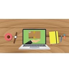 online delivery ecommerce with laptop notes pencil vector image
