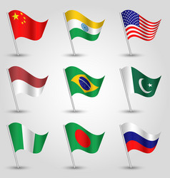 set of nine flags states with biggest population vector image vector image