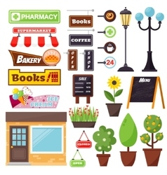 Shop facade elements set vector image
