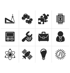 Silhouette Science and Research Icons vector image