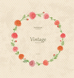 vintage wreath with spring flowers for your design vector image vector image
