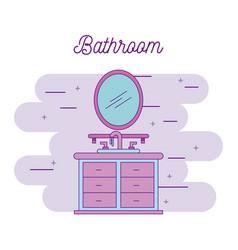 bathroom sink shelf and mirror element vector image