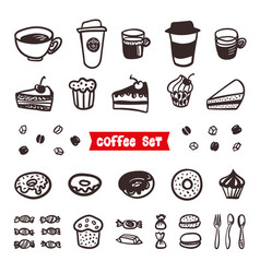 coffee attributes set outline hand drawn elements vector image