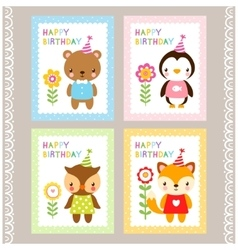 Holiday stamps with animals vector image vector image