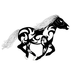 tribal silhouette of a running horse vector image vector image