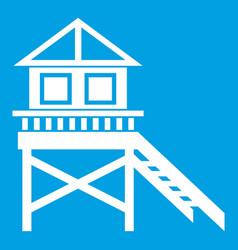 wooden stilt house icon white vector image