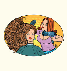 blow drying women hair barber vector image