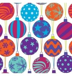 christmas tree balls seamless pattern vector image
