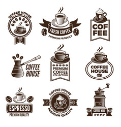 different labels set for coffee house pictures of vector image