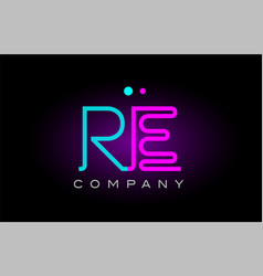 neon lights alphabet re r e letter logo icon vector image vector image