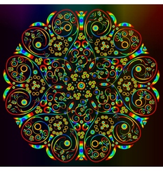 Ornamental abstract round lace rainbow colored pat vector image vector image