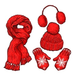 Set of red knotted scarf hat ear muffs and vector image