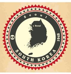 Vintage label-sticker cards of South Korea vector image