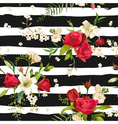 Vintage rose and lily flowers stripes background vector