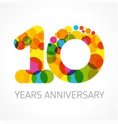 10 years anniversary circle color logo idea vector