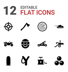 12 weapon icons vector
